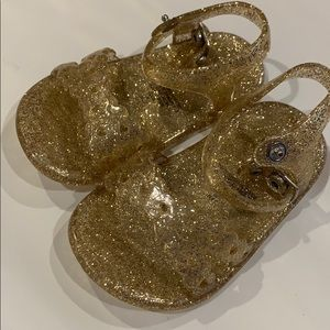 Glittery gold baby girl jelly sandals 3-6months